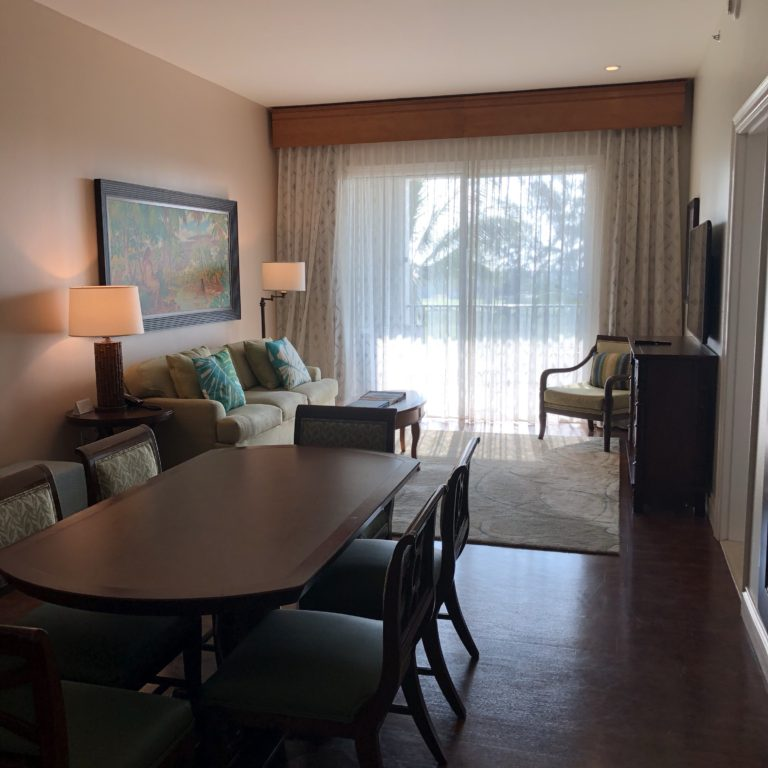 The living and dining area in a Kings' Land 2 bedroom condo