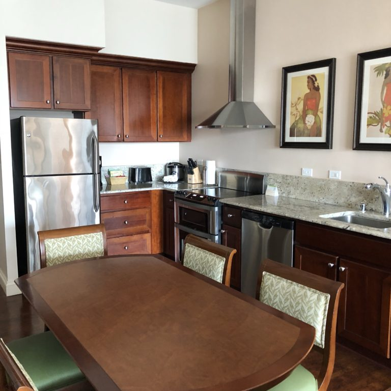 Kitchen and Dining Area at HGVC Kings' Land Big Island