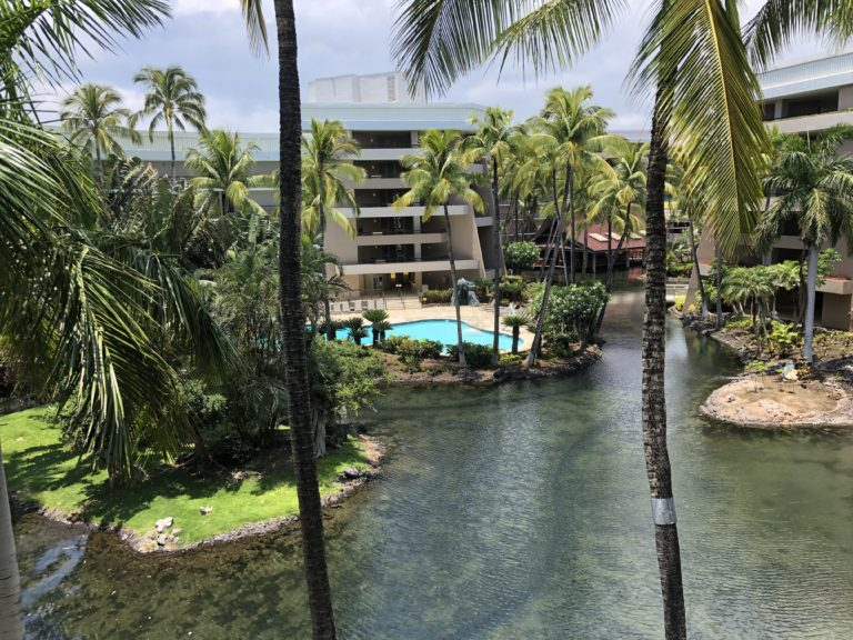 Hilton Waikoloa Village view of Lagoon Tower and pool