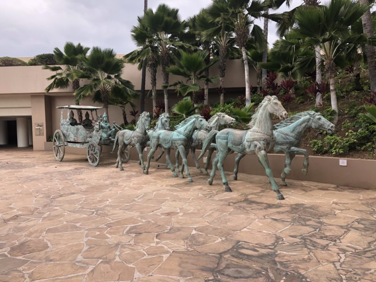 Horse and Carriage Sculpture at Hilton Waikoloa Village