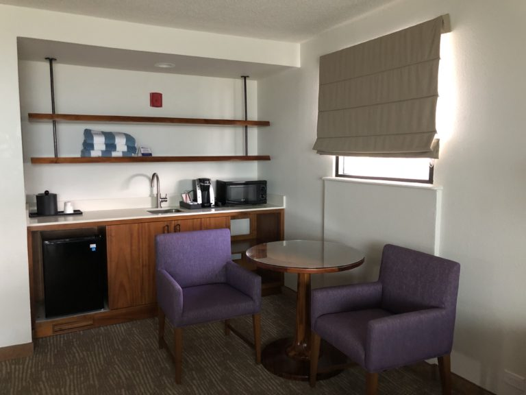 Eating area with mini fridge and microwave