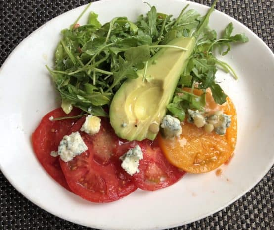 Tomato Avocado Arugula Salad at Merriman's the Best Farm to Table on the Big Island